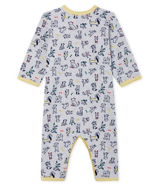 Tutina senza piedi bebé maschio a costine grigio Poussiere / bianco Multico
