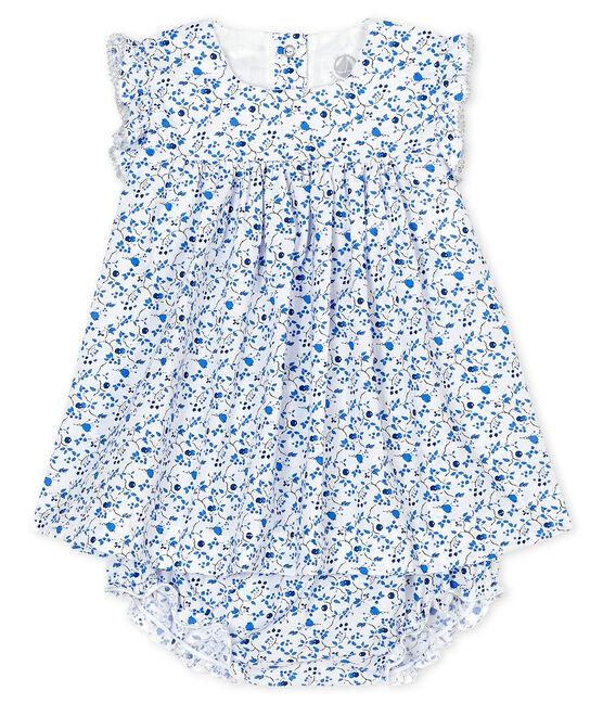 Abito con bloomer fiori blu bebé bambina in popeline bianco Marshmallow / bianco Multico