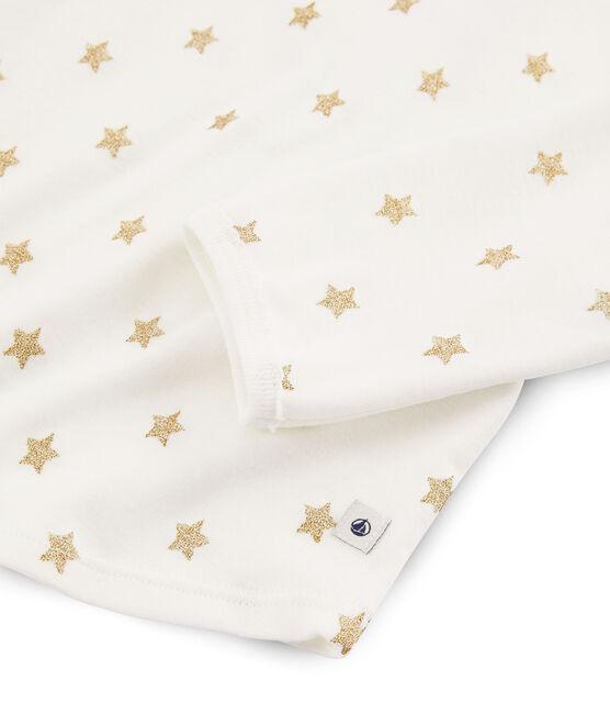 Pigiama a stelle bambina a costine bianco Marshmallow / giallo Or