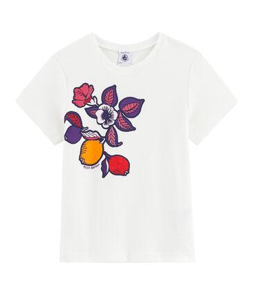 T-shirt a maniche corte bambina bianco Marshmallow / rosa Geisha