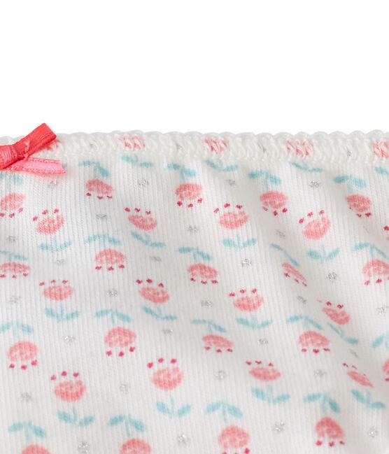 Culotte per bambina stampata in jersey stretch bianco Lait / bianco Multico