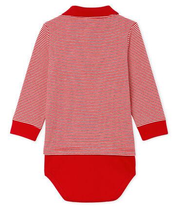 Body a polo fantasia millerighe bebè maschio rosso Terkuit / bianco Marshmallow