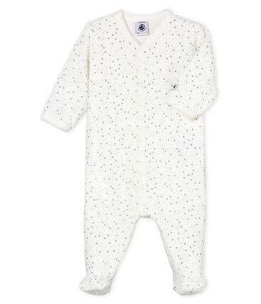 Tutina pigiama bebè unisex in velluto bianco Marshmallow / grigio Concrete