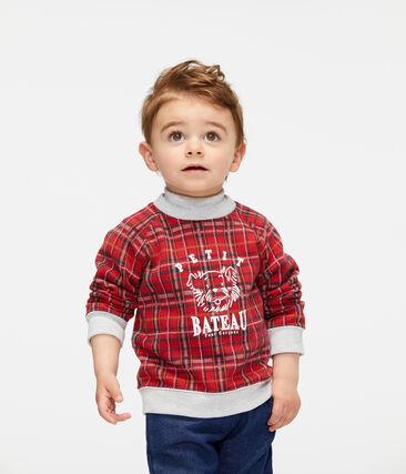 Felpa bebè maschio in maglia a scacchi rosso Terkuit / bianco Multico