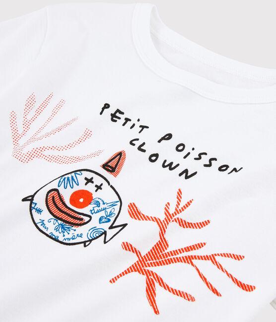 T-shirt Serge Bloch bambino bianco Ecume
