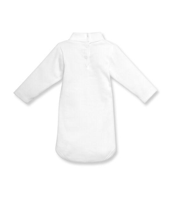 Body maniche lunghe collo alto bebé unisex in cotone grattato bianco Ecume