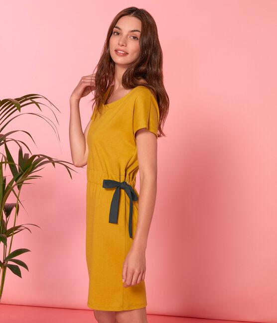 Abito maniche corte donna giallo Bamboo