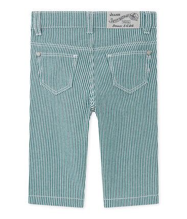 Pantaloni per bebè maschio a righe verde Olivier / bianco Marshmallow