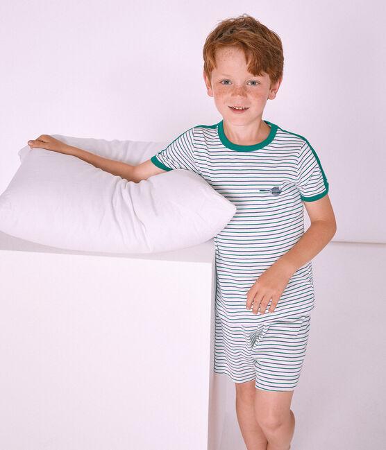Pigiama corto bambino a costine bianco Marshmallow / bianco Multico