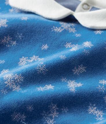 Tutina bebé femmina in ciniglia blu Major / bianco Marshmallow