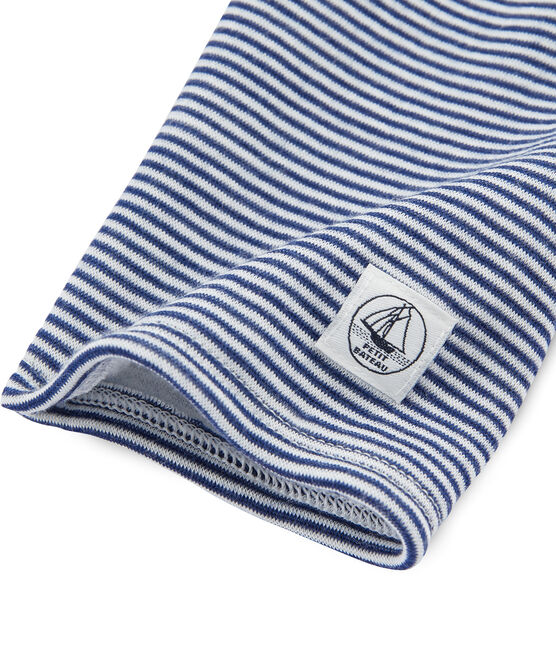 Leggings bambino in lana e cotone blu Medieval / bianco Marshmallow