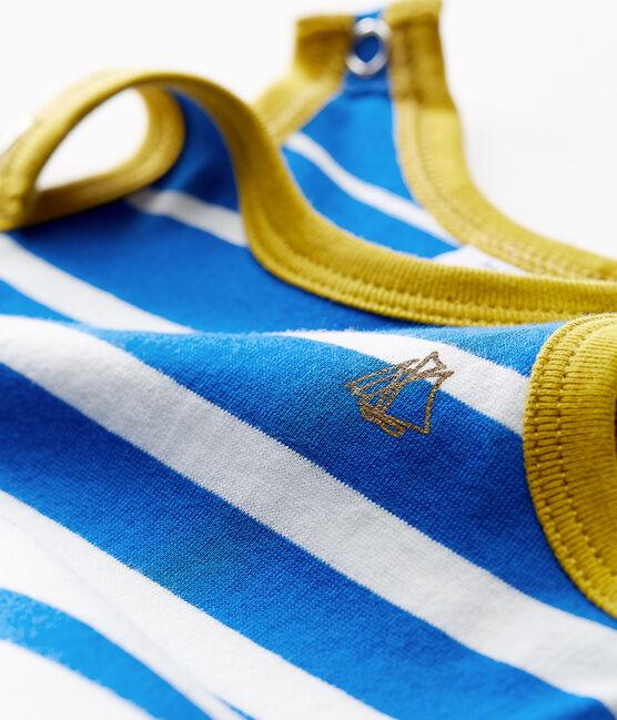 Tutina corta neonato in jersey leggero a righe piazzate blu Riyadh / bianco Marshmallow