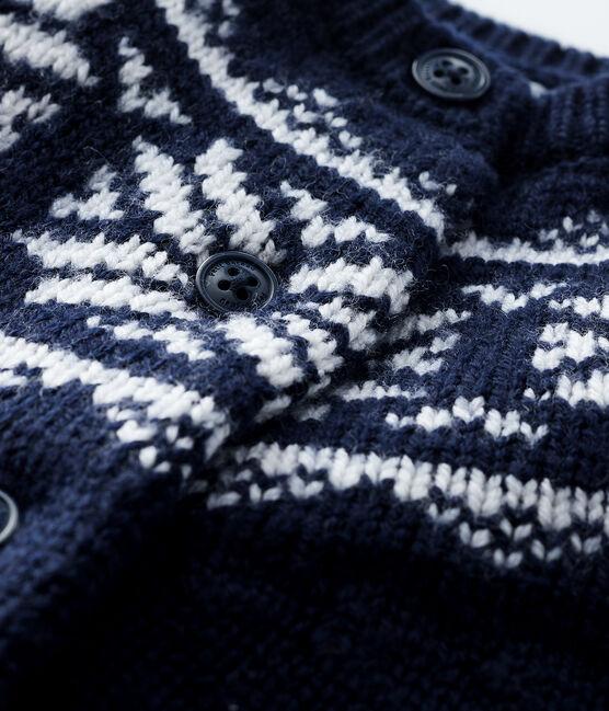 Cardigan 100% lana bebè blu Smoking / bianco Marshmallow