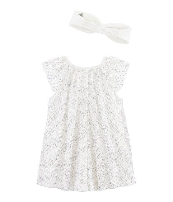 Abito a maniche corte bebè femmina con fascia bianco Marshmallow / giallo Or