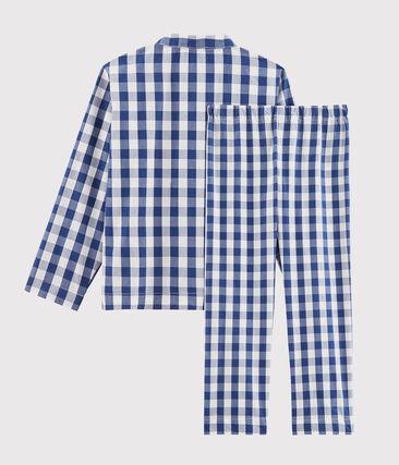 Pigiama bambino in twill blu Medieval / bianco Marshmallow