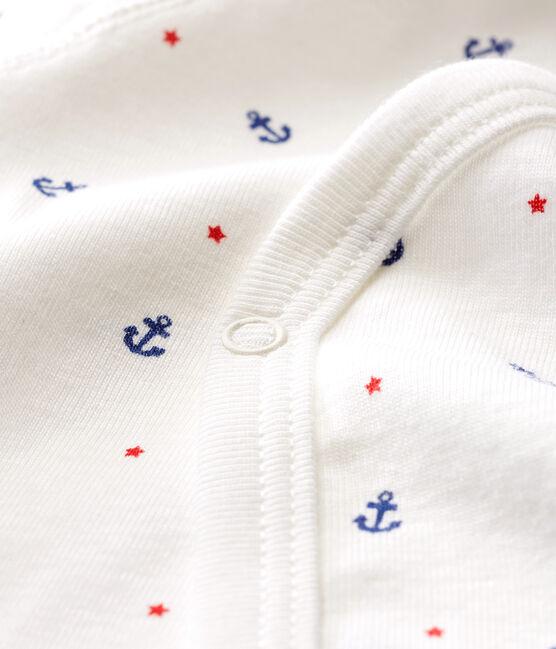Body nascita manica lunga bebè maschietto bianco Marshmallow / bianco Multico