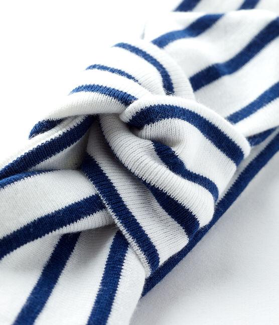 Fascia bebè femmina a righe bianco Marshmallow / blu Smoking