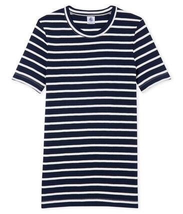 tee-shirtdonna maniche corte rigata blu Smoking / bianco Marshmallow