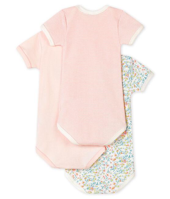 Confezione da 3 body manica corta colori pastello bebè femmina lotto .