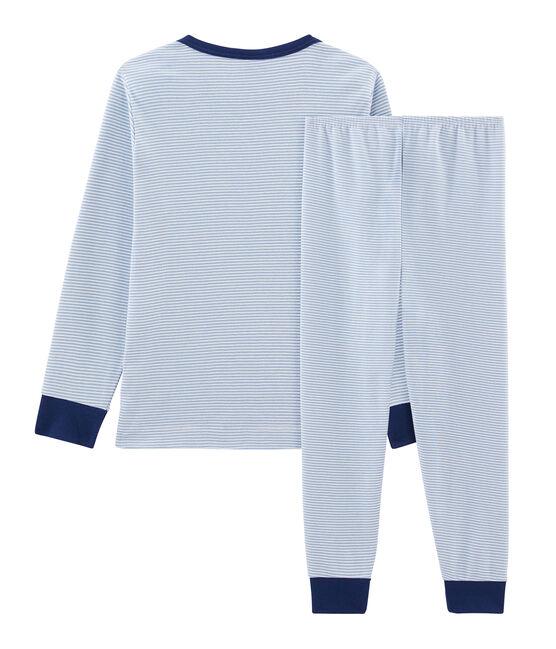 Pigiama bambino a costine blu Acier / bianco Marshmallow