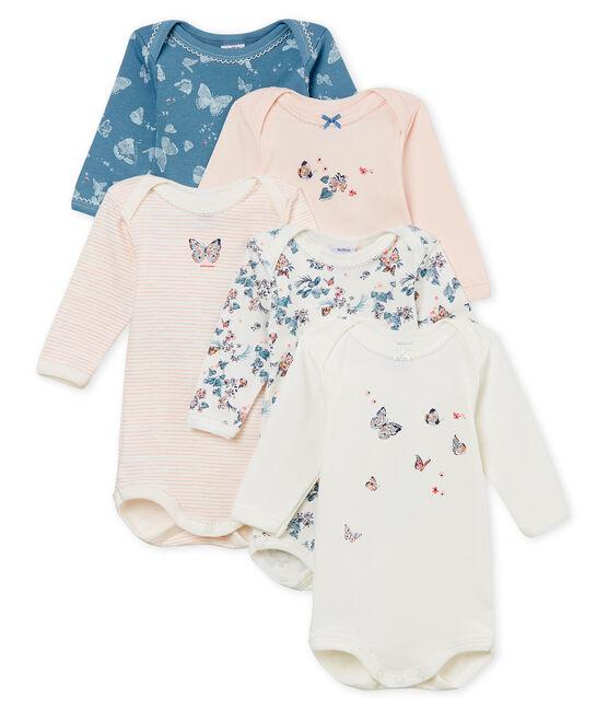 Confezione da 5 body manica lunga bebè bambina in cotone lotto .