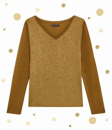 tee-shirtdonna maniche lunghe marrone Brindille / giallo Dore