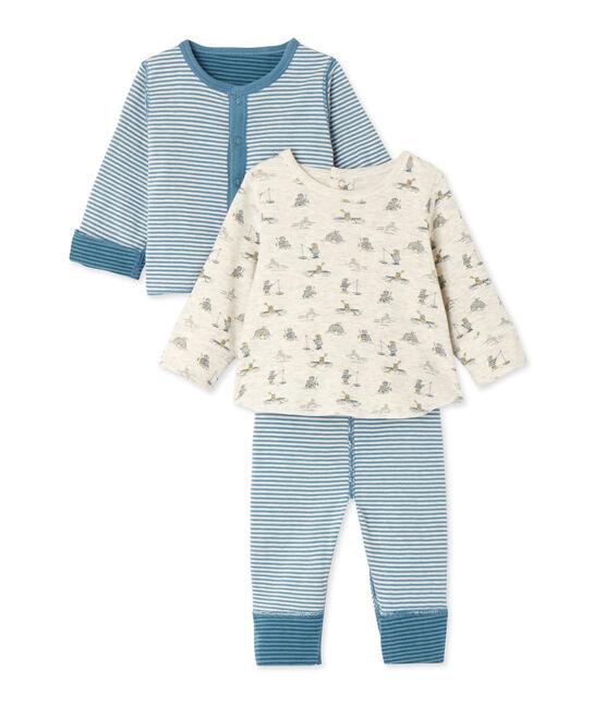 Coordinato 3 pezzi per bebè maschio blu Atelier / blu Polochon