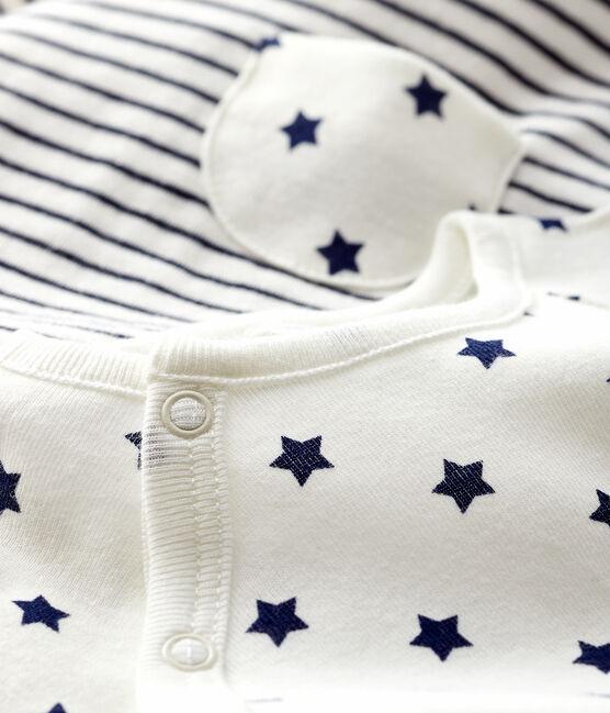 Completo 2 pezzi in tessuto tubico neonato bianco Marshmallow / blu Smoking