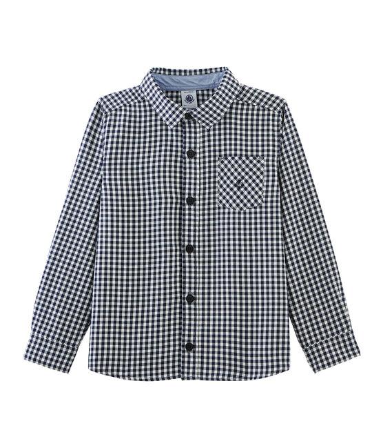 Camicia bambino a scacchi blu Medieval / bianco Lait