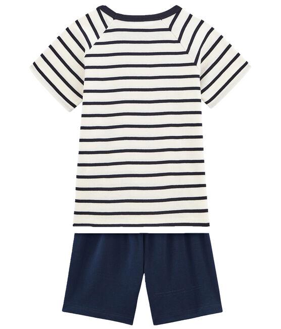 Pigiama corto marinière bambino a costine bianco Marshmallow / blu Smoking