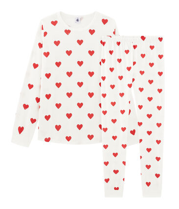 Pigiama ragazza - ragazzo a costine bianco Marshmallow / rosso Terkuit
