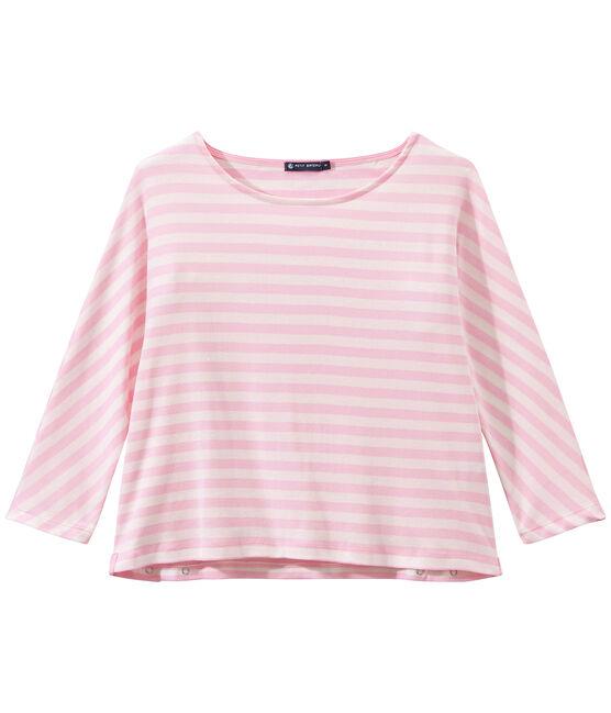 T-shirt donna maniche a 3/4 a righe rosa Babylone / bianco Marshmallow