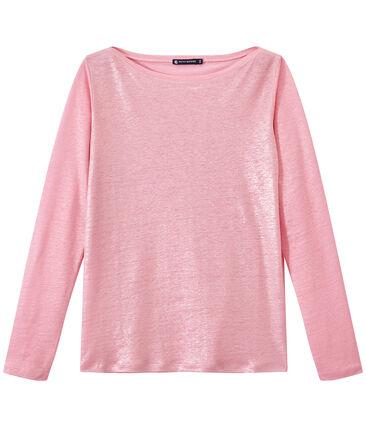 T-shirt donna a maniche lunghe in lino iridescente rosa Babylone / grigio Argent