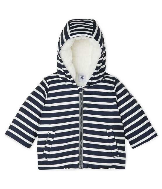 Piumino bebè maschietto a righe blu Smoking / bianco Marshmallow