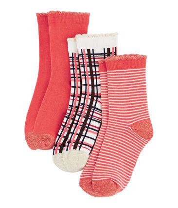 Confezione da 3 paia di calzini bambina rosso Signal / bianco Multico