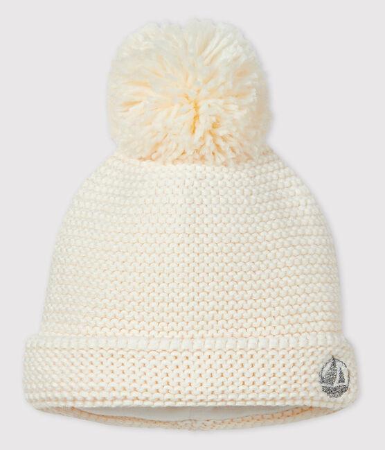 Cappello con pompon bebè femmina/maschio bianco Marshmallow