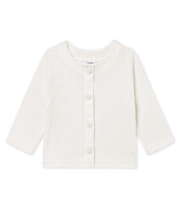 Cardigan bambina in cotone/lino bianco Marshmallow