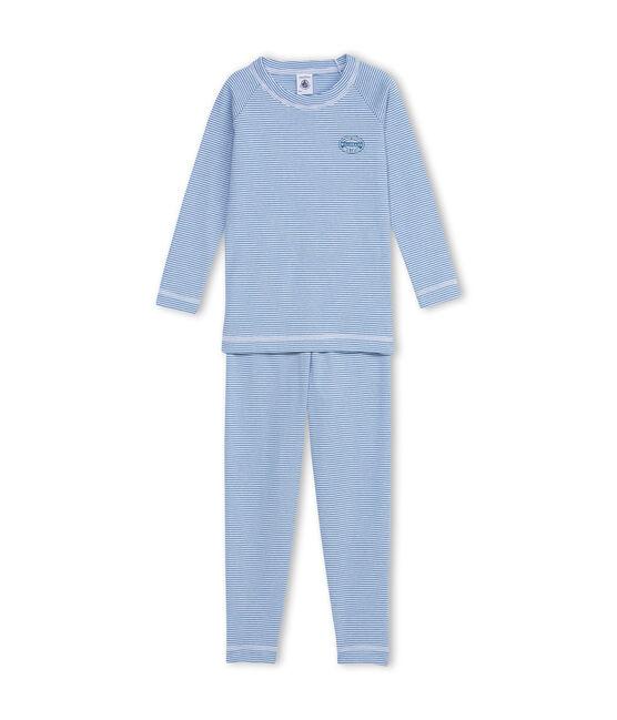 Pigiama corto per bambino a righe blu Alaska / bianco Ecume