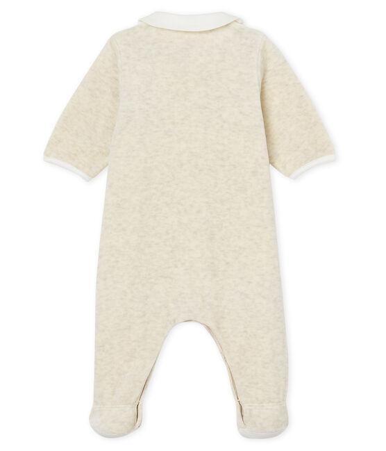 Tutina pigiama e bavaglino bebè unisex in velluto di cotone grigio Montelimar Chine