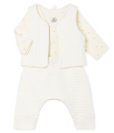 Completo tre pezzi bebè in tubique bianco Marshmallow