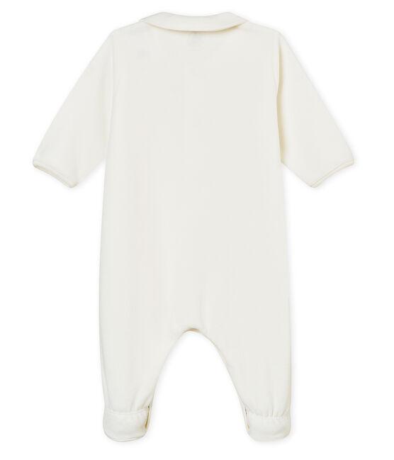 Tutina per bebé unisex in ciniglia tinta unita bianco Marshmallow