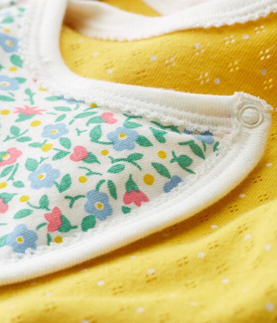 Tutina corta bebè bambina a costine giallo Honey / bianco Marshmallow