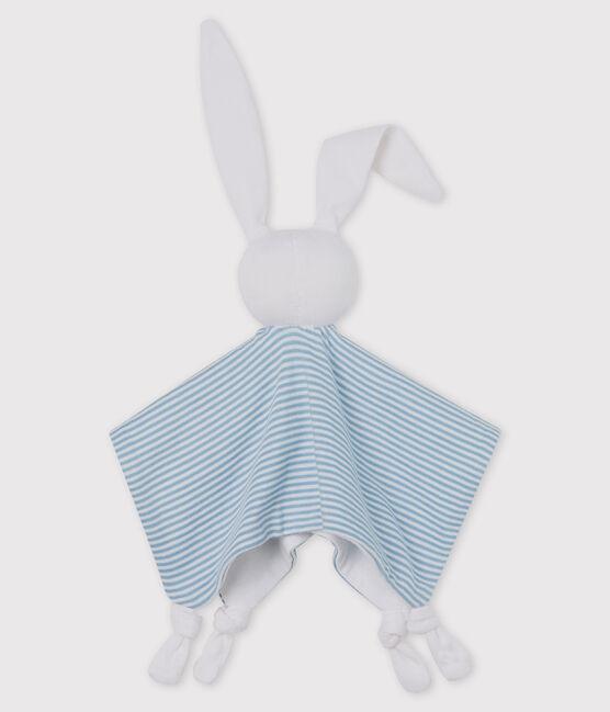 Doudou coniglietto bebè in cotone blu Acier / bianco Marshmallow