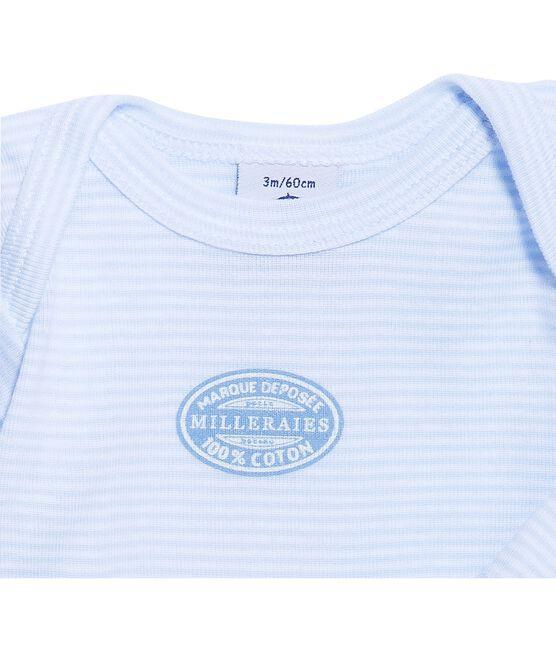 Body bebé bambino maniche lunghe millerighe blu Fraicheur / bianco Ecume