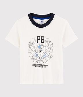 T-shirt maniche corte in cotone bambino bianco Marshmallow