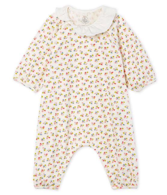 Tutina lunga bebè femmina a costine bianco Marshmallow / bianco Multico