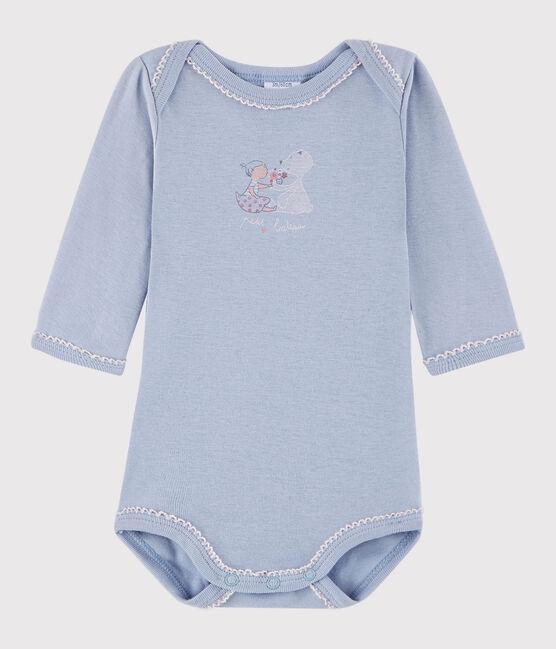 Body manica lunga bebè femmina blu Vanais