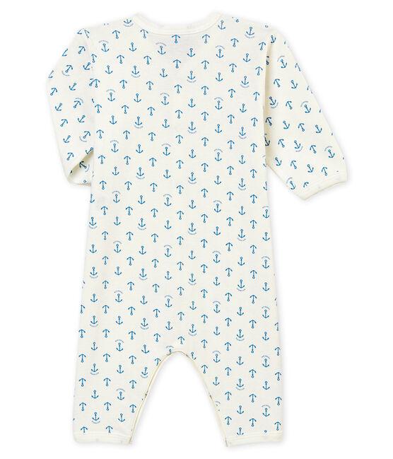 Tutina senza piedi per bebé maschio bianco Marshmallow / blu Alaska
