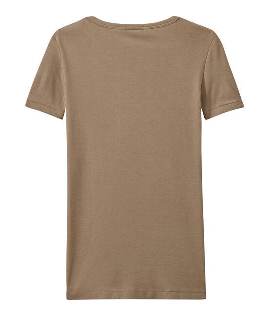 T-shirt donna scollo a V In costina originale 1X1 marrone Shitake