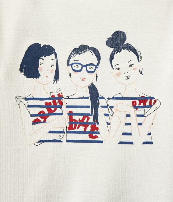 T-shirt bambina maniche lunghe serigrafata bianco Marshmallow
